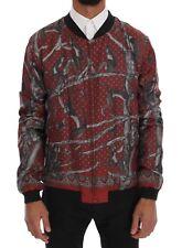 NEW $2400 DOLCE & GABBANA Jacket Bordeaux Silk Monkey Print EU52 / US42 / XL
