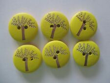 6 x 18mm Wooden BUTTONS - TREE OF LIFE-  Yellow- Sewing or Scrapbooking No1067