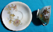 VINTAGE DEMITASSE CUP AND SAUCER WITH GOLD FLOWERS JB BETSONS CHINA