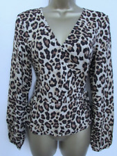 H&M Ladies Brown & Black Animal Leopard Long Sleeved Blouse Top Size 6 Womens