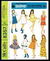 "8357 McCall's SKIPPER Fashion Doll Garments Fabric Sewing Pattern Barbies Sis 9"""