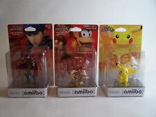 PIKACHU, DIDDY KONG & IKE Amiibo - Super Smash Bros - Brand New & Sealed