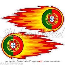 """PORTUGAL Portuguese Fireball-Flaming 125mm(5"""") Bumper-Helmet Stickers Decals x2"""