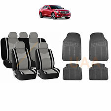 13PC GRAY MESH AIRBAG SEAT COVERS SPLIT BENCH & BL RUBBER MATS FOR CARS 3045