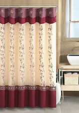 Burgundy Daphne Embroidered Sheer Voile With Taffeta Shower Curtain