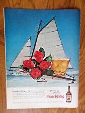 1953 Four Roses Whiskey Ad  Ice Boat Ice Sailing Theme