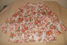 JM Collection Size 16P Beige Pink Green Gold Floral Linen Shirt, 3/4 sleeves