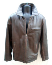 CHEROKEE MEN'S BROWN LEATHER QUILT LINED BOMBER CAFE RACER JACKET SIZE LARGE EUC