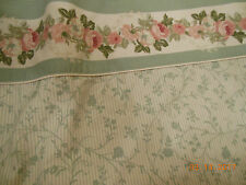 Laura Ashley King Flat Sheet COTTAGE ROSE VINTAGE RARE pink & green