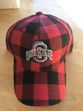 Ohio State Buckeyes  Red & Black Plaid SNAP BACK Embroidered Hat