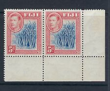 FIJI : 1938 5d blue and scarlet  SG 258 mint corner pair