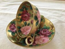 ANTIQUE NIPPON HAND PAINTED CUP and SAUCER PINK ROSES and GOLD GORGEOUS
