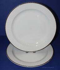 "DEBENHAMS Ridgway * 2 Pottery Dinner Plates * 10.25"" (26cm) Diam * Brown Rim *"