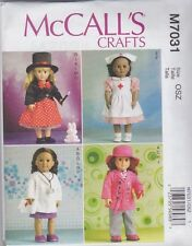 McCall's Sewing Pattern Clothes For 18 inch Doll 4 Outfits Nurse Doctor M7031