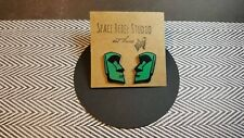 EASTER ISLAND HEADS Earrings~Moai Heads~Green~Polynesian~Funky~Unique~Aboriginal