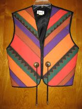 Girasol M cotton orange purple green cowboy western open front fringe vest top