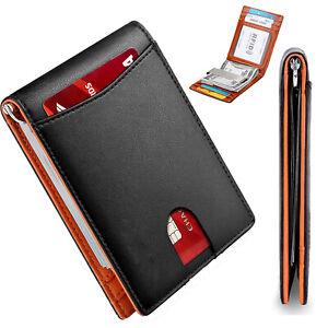 RFID Blocking Slim Bifold Genuine Leather Minimalist Front Pocket Wallet for Men