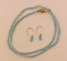 Aquamarine Faceted Bead Necklace & Briolette Earring Set 14K Gold - New!