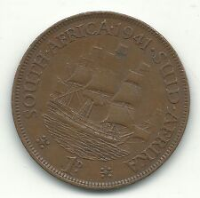 A BETTER GRADE 1941 SOUTH AFRICA-AFRICAN ONE CENT PENNY-NOV892