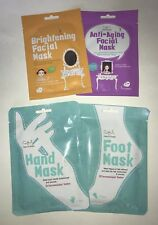 Face, Hand & Foot Sheet Mask - Anti-Aging, Brightening, Foot & Hand Masks 4 pc