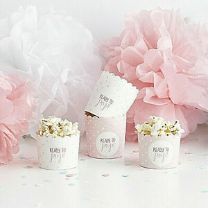 10 PINK GIRL BABY SHOWER PARTY CUPS SWEETS CHOCOLATE POPCORN READY TO POP