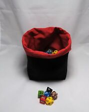 D&D Black Red - Square Dice Bag - Reversible Drawstring Tile Pouch - RPG Meeple