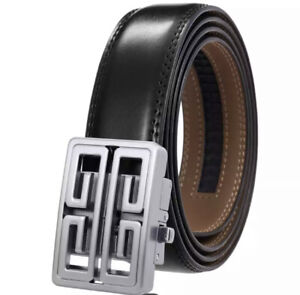 MENS REAL LEATHER BELTS AUTOMATIC 35MM WIDE BELT SQUARE LUXURY SMART S M L XL UK
