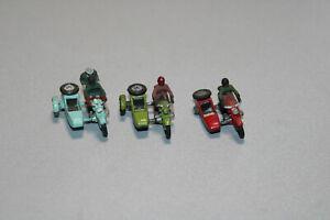 Roco 3 Stück Motorräder mit Beiwagen Spur H0 #C325