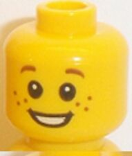 Lego Head Male x 1 Freckles with Open Smile, White Pupils for Minifigure