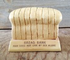Vintage Paula Figurine Piggy Bank Man Does Not Live By Sex Alone Loaf of Bread