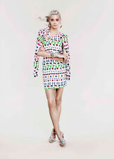 HM VERSACE Bianco/Multi Colore Seta COLLEZIONE CROCIERA Dress & Cardigan UK10/S