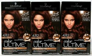 3 Boxes Schwarzkopf Color Ultime 4.82 Dark Mahogany Brown Permanent Hair Dye