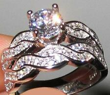 Matched Wedding Rings Set: Size 7 Silver 4.6 Carat T.W. Simulated Moissanite