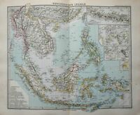 East Indies Malaysia Java Philippines Borneo Celebes 1884 Stieler detailed map