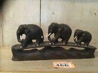 ANTIQUE BLACK EBONY HAND CARVED WOODEN ELEPHANT GROUP HARD WOOD ELEPHANT FAMILY