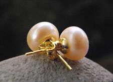 Natural 11-12 MM Pink Akoya Pearl Stud Earring 14k Gold Plated je294