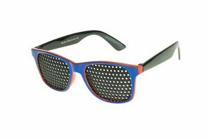 Rasterbrille Lochbrille Sehhilfe Sehtraining 410-KD für Kinder rot/blau