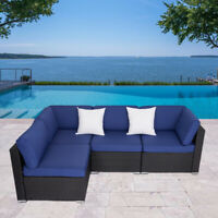 2-4PCs Patio Rattan Wicker Sofa Set Cushined Couch Furniture Outdoor Garden