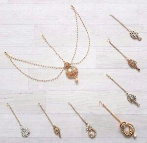 New Tikka Head Piece Jhumar Matha Patti Diamand Indian Costume Jewellery Bindi