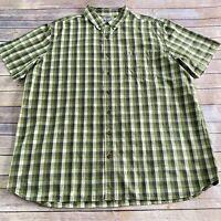 Carhartt Mens Green Plaid Short Sleeve 3XL Tall Short Sleeve Button Front Shirt