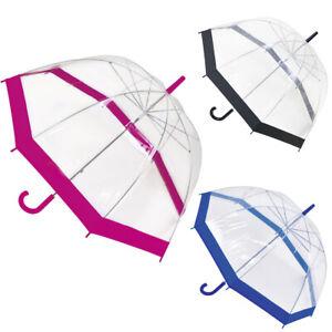 "31"" Large Clear See Through Dome Umbrella Transparent Ladies Parasol Rain Brolly"