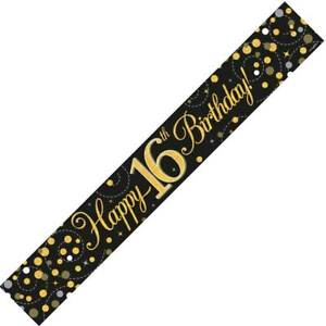 9ft Black & Gold Happy 16th Birthday Foil Banner Age 16 Party Decorations