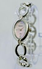 Ladies ARMITRON Now Silver Tone Bracelet Watch, Pink MOP Dial, Crystals, 75/3585