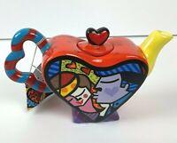 Romero Britto Mini Hearth Teapot Kissing Couple Signed with Original Tag 14072