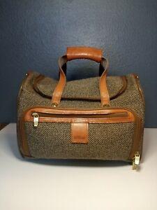 """Rare~ Hartmann Tweed Leather Carry On Tote Duffle Bag Weekender 14"""" -VINTAGE-"""