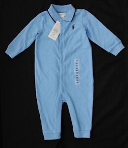 BNWT RALPH LAUREN BABY BOYS COVERALL COTTON LONG SLEEVE ALL IN ONE 9 M RRP £50