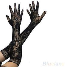 Señoritas Mujer Sexy Negro de Encaje largo guantes de boda Goth Travesti Ropa Interior Femenina