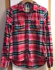WOMENS JUNIORS HOLLISTER PINK BLUE PLAID FLANNEL LONG SLEEVE BUTTON BLOUSE SZ XS
