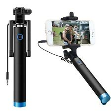 Blue Wired Foldable Mini Selfie Stick Holder For HTC U11 10 U Play Desire One A9