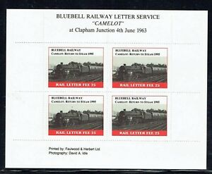 Bluebell Railway 1995 Return to Steam of Camelot stamp in sheet unmounted mint